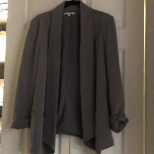Rebecca Minkoff silk jacket size 8 grey lined.